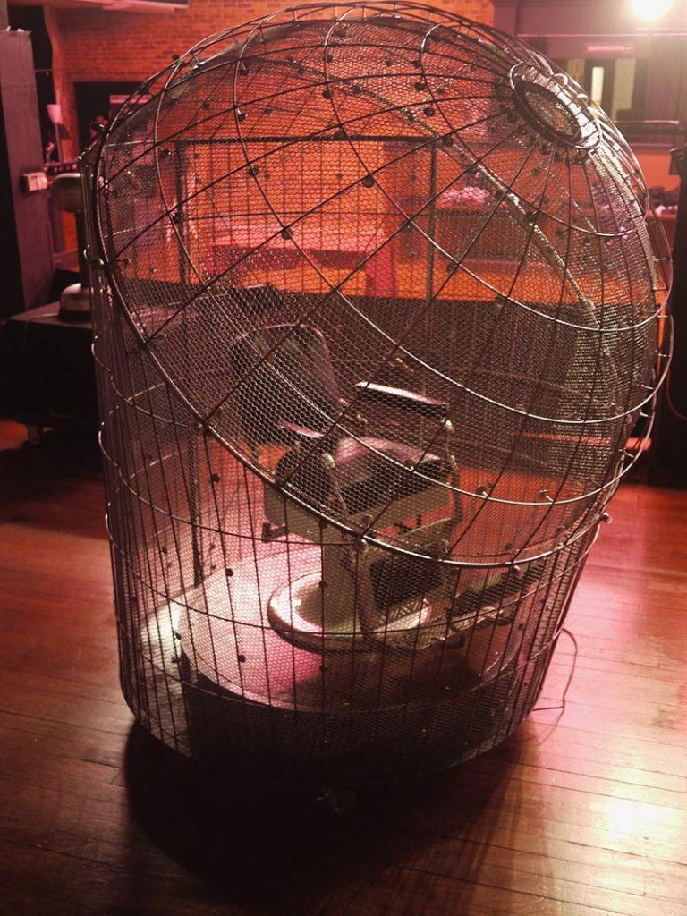 explorations-rik-allen-glass-metal-artist faraday cage Spark-museum